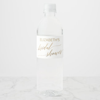 Elegant Gold Calligraphy Bridal Shower Water Bottle Label