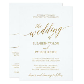 Elegant Gold Calligraphy | Details on Back Wedding Invitation