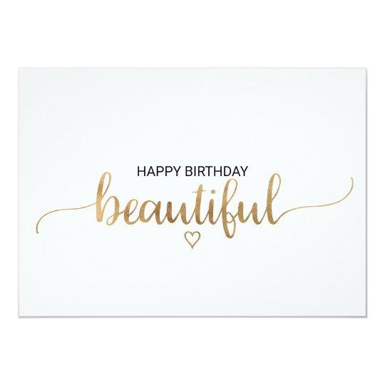 Elegant Gold Calligraphy Happy Birthday Beautiful Card