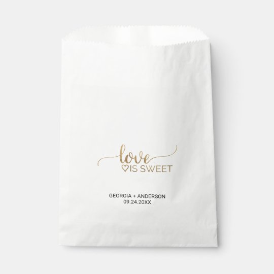 """Elegant Gold Calligraphy """"Love is Sweet"""" Wedding Favour"""