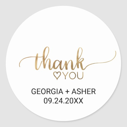 Elegant Gold Calligraphy Thank You Wedding Favour Round