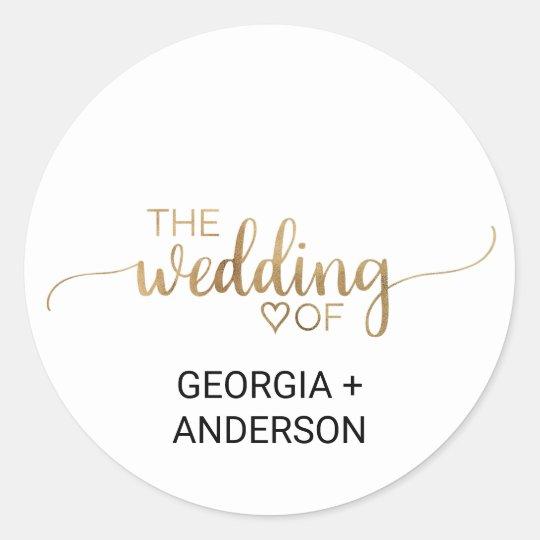 Elegant Gold Calligraphy Wedding Envelope Seal Round Sticker