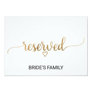 Elegant Gold Calligraphy Wedding Reserved Sign Card