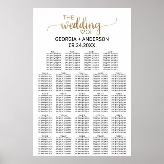 Elegant Gold Calligraphy Wedding Seating Chart