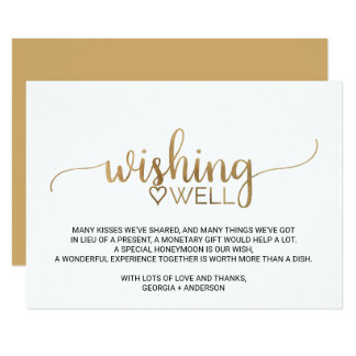 Elegant Gold Calligraphy Wedding Wishing Well Card