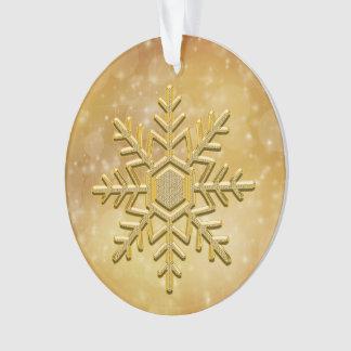 Elegant Gold Ceramic Snowflake Ornament
