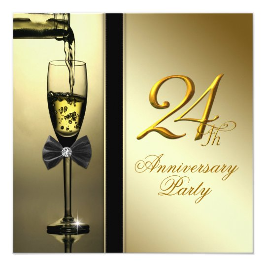 Elegant Gold Champagne 24th Anniversary Party Card