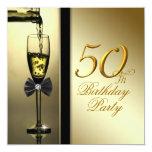 Elegant Gold Champagne 50th Birthday Party Custom Invites