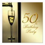Elegant Gold Champagne 50th Birthday Party Personalized Announcement