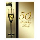 Elegant Gold Champagne 50th Birthday Party Invites