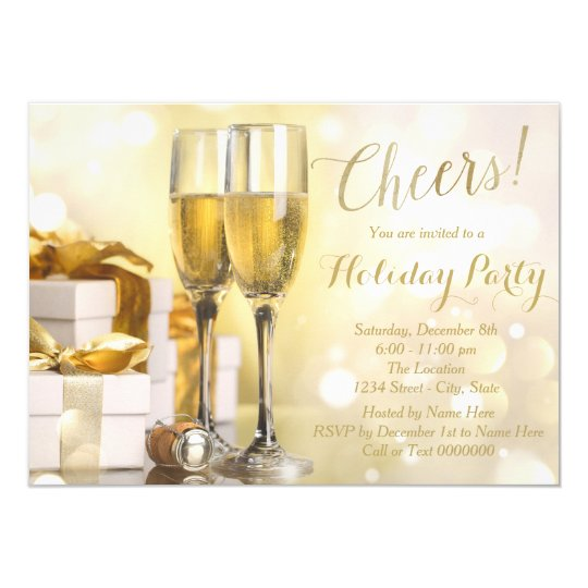 Elegant Gold Champagne Holiday Party Card