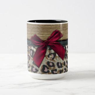 Elegant Gold Cheetah Print Two-Tone Coffee Mug