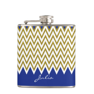 Elegant Gold Chevron Custom Flask
