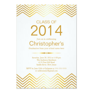 Elegant Gold Chevron Graduation Party Invitation