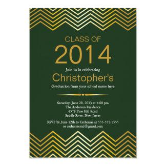 "Elegant Gold Chevron Graduation Party Invitation 5"" X 7"" Invitation Card"
