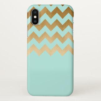 elegant gold chevron pattern mint background iPhone x case