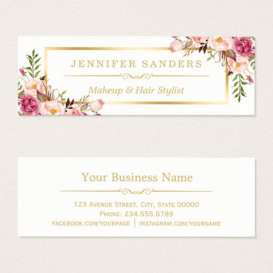 Elegant Gold Chic Floral Makeup Hair Stylist Salon