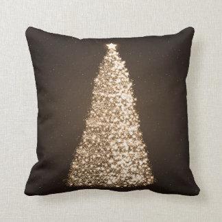 Elegant Gold Christmas Tree Brown Cushion