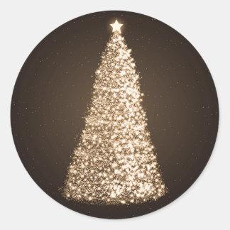 Elegant Gold Christmas Tree Brown Round Sticker