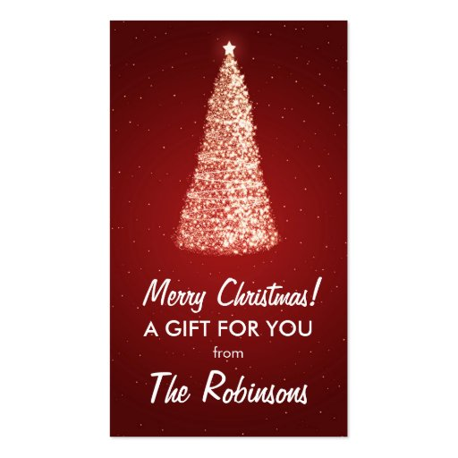 Elegant Gold Christmas Tree Favor Tag Red Business Card