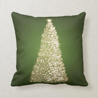 Elegant Gold Christmas Tree Green Cushion