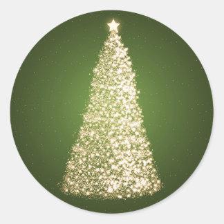 Elegant Gold Christmas Tree Green Round Sticker