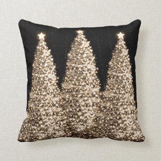 Elegant Gold Christmas Trees Black Cushion