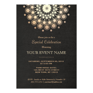 Elegant Gold Circle Motif Black Linen Look Formal Personalized Invitations