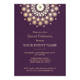 Elegant Gold Circle Motif Purple Linen Look Formal 13 Cm X 18 Cm Invitation Card