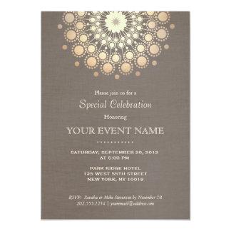 Elegant Gold Circle Motif Taupe Linen Look Formal 13 Cm X 18 Cm Invitation Card