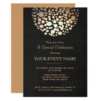 Elegant Gold Circle Sphere Black Linen Look Formal 13 Cm X 18 Cm Invitation Card