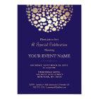 Elegant Gold Circle Sphere Navy Blue Formal Card