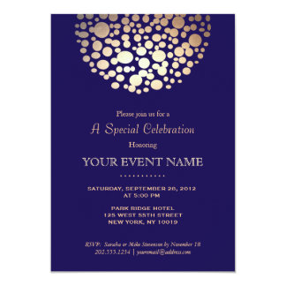 Elegant Gold Circle Sphere Navy Blue Formal Card