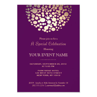 Elegant Gold Circle Sphere Purple Formal Card