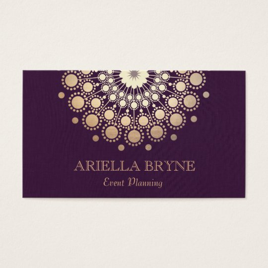 Elegant Gold Circles Purple Event Planner Business Card