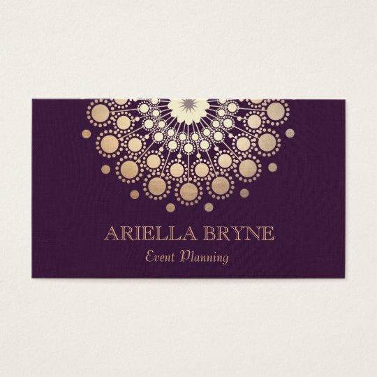 Elegant Gold Circles Purple Event Planner Business Card