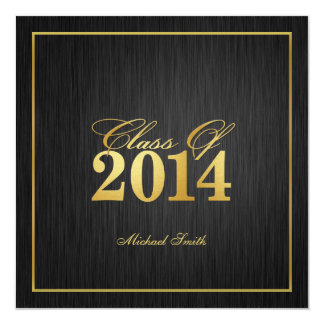 "Elegant ""Gold"" Class of 2014 Graduation Invitation 5.25"" Square Invitation Card"
