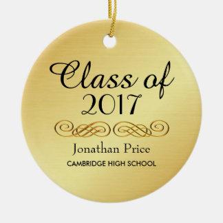 Elegant Gold Class of Graduation Christmas Round Ceramic Decoration