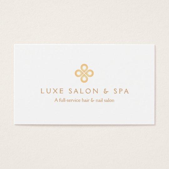 ELEGANT GOLD CLOVER LOGO on WHITE for Salon,