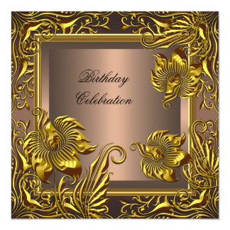 Elegant Gold Coffee Floral Birthday Celebration 13 Cm X 13 Cm Square Invitation Card