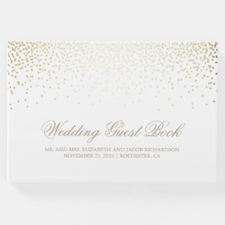 Elegant Gold Confetti Dots White Wedding Guest Book