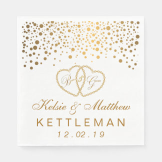 Elegant Gold Confetti on White Background Paper Napkins
