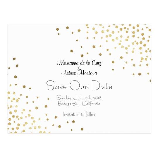 Elegant Gold Confetti Wedding Save Our Date Postcard