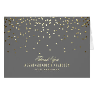 Elegant Gold Confetti Wedding Thank You Card