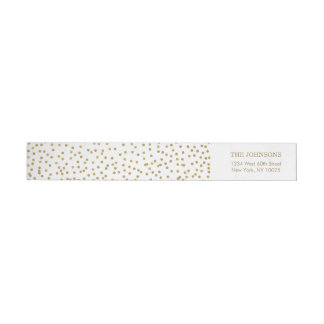 Elegant Gold Confetti Wrap Around Label
