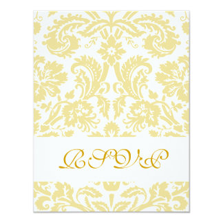 "Elegant Gold Cream Damask Wedding RSVP Card 4.25"" X 5.5"" Invitation Card"