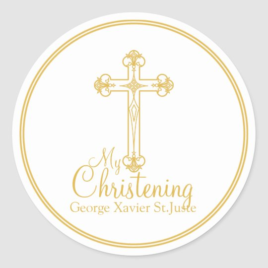 elegant gold cross CHRISTENING party favour label