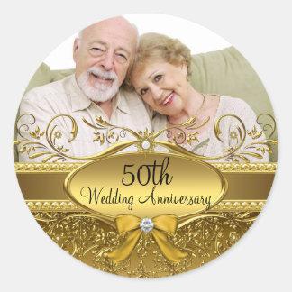 Elegant Gold Damask Photo 50th Anniversary Sticker