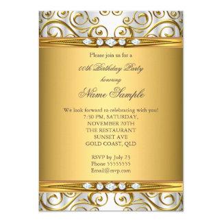 Elegant Gold Damask White Diamond Birthday Party 11 Cm X 16 Cm Invitation Card