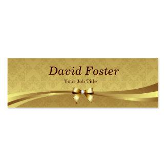 Elegant Gold Damask with Shiny Diamond Ribbon Bow Business Card